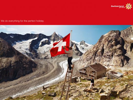 Swiss Tourism Print Ad -  We'll Do Anything, Flag ironer