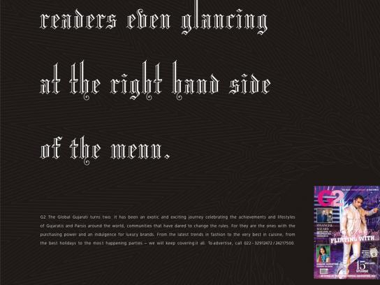 G2 Print Ad -  Menu