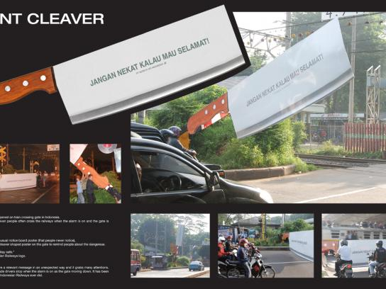 Indonesian Railways Ambient Ad -  Giant Cleaver