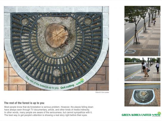 Green Korea United Ambient Ad -  Quit cutting, 3