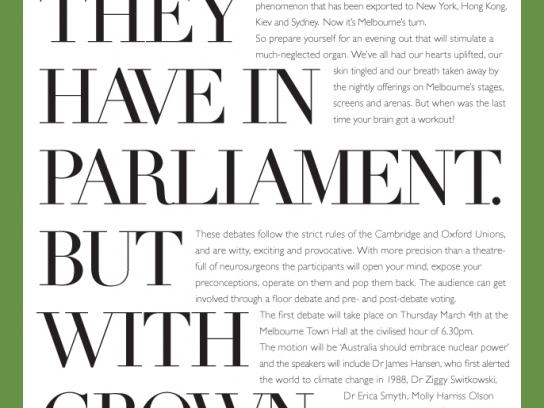 Intelligence Squared Print Ad -  Parliament