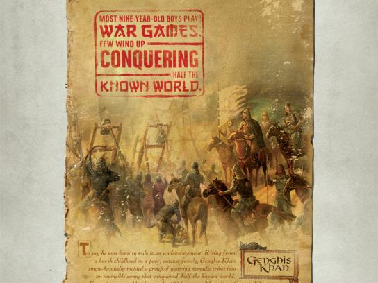 Denver Museum of Nature & Science Print Ad -  Genghis Khan, War games