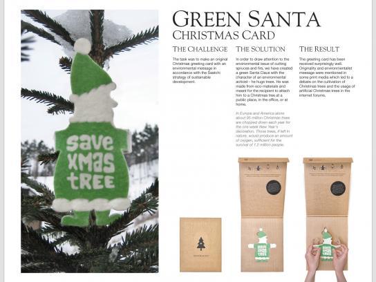 Saatchi & Saatchi Direct Ad -  Green Santa Christmas card