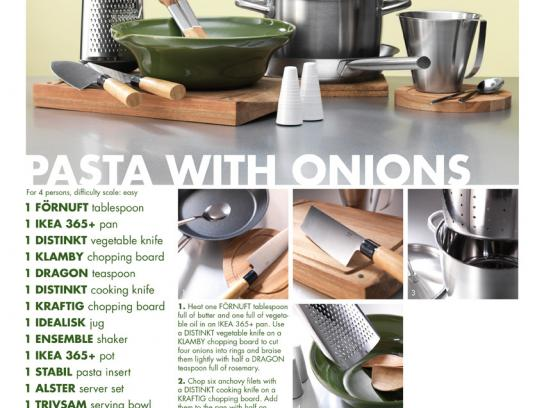 IKEA Print Ad -  Recipes, Pasta with Onions