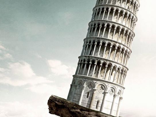 Komatsu Print Ad -  Leaning Tower of Pisa