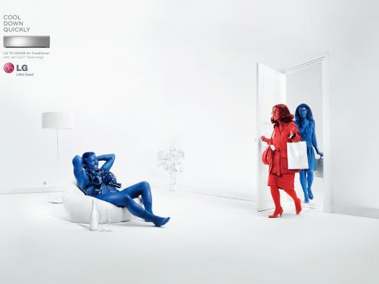 LG Print Ad -  Cool Down Quickly, Man Present