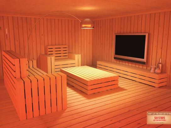 Six Stars Print Ad -  Living room sauna