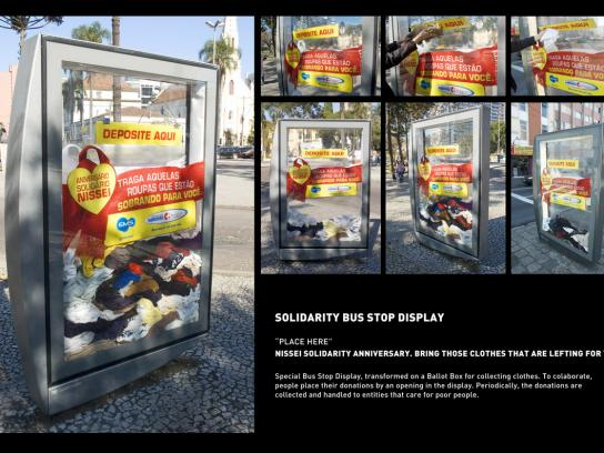 Nissei Drugstore Ambient Ad -  Solidarity Anniversary Bus Stop Display