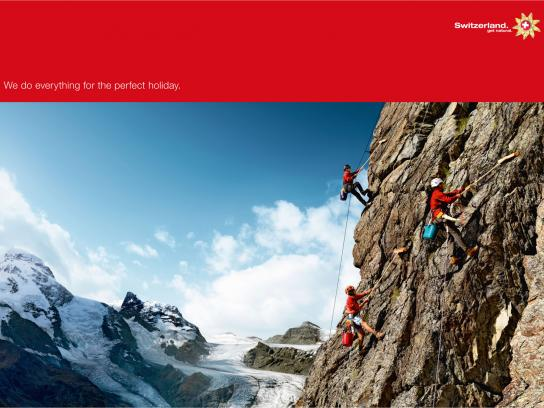 Swiss Tourism Print Ad -  We'll Do Anything, Mountain cleaner
