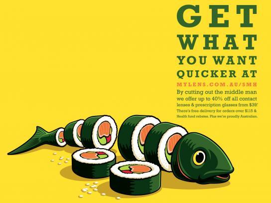 Mylens.com.au Print Ad -  Sushi