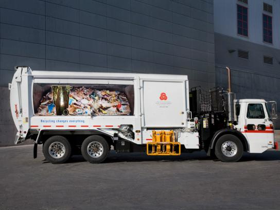 Norcal Outdoor Ad -  Recycling Promotion, garbage truck, Redwood
