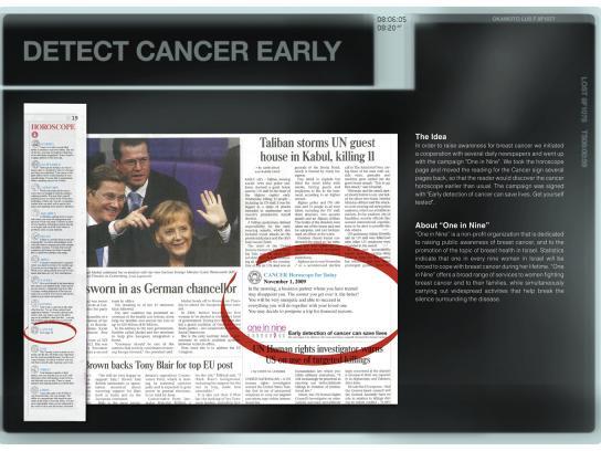One In Nine Print Ad -  Cancer Horoscope