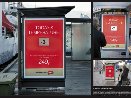 Norwegian Air Shuttle Outdoor Ad -  Temperature board