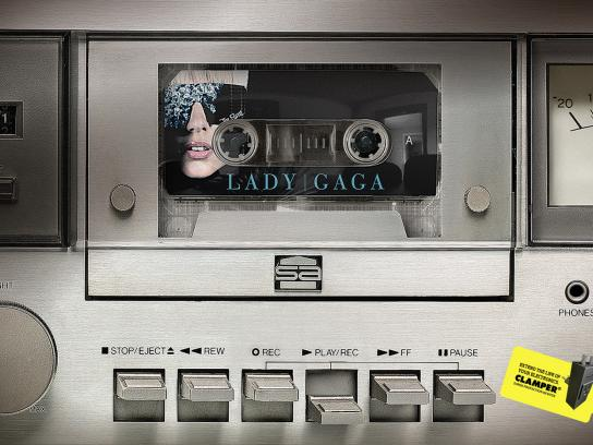 Clamper Print Ad -  Old tape recorder