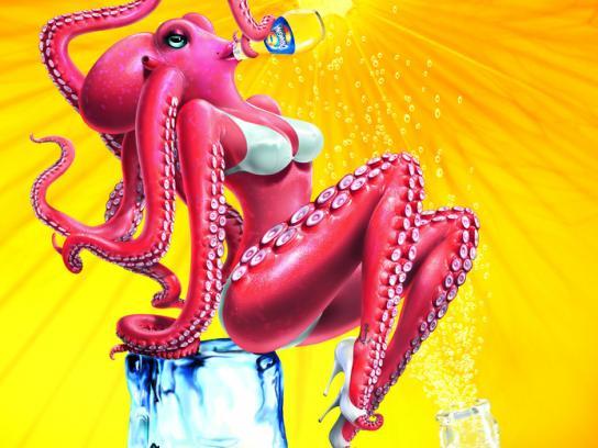 Orangina Print Ad -  Octopus