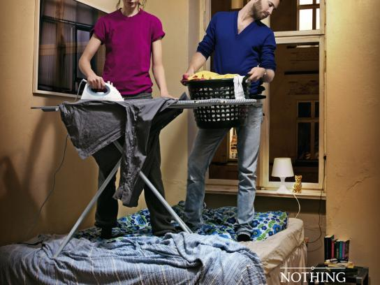 Orion Erotic Mail-Order Print Ad -  Daily routine in bed, Ironing
