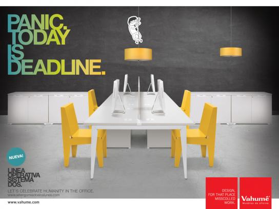 Vahume Print Ad -  Let's Celebrate Humanity in the Office, Panic