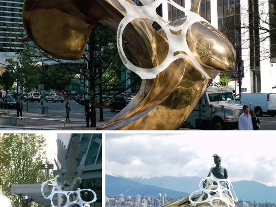 Plastic Pollution Coalition Ambient Ad -  Plastic is Forever, Statues caught in stunt