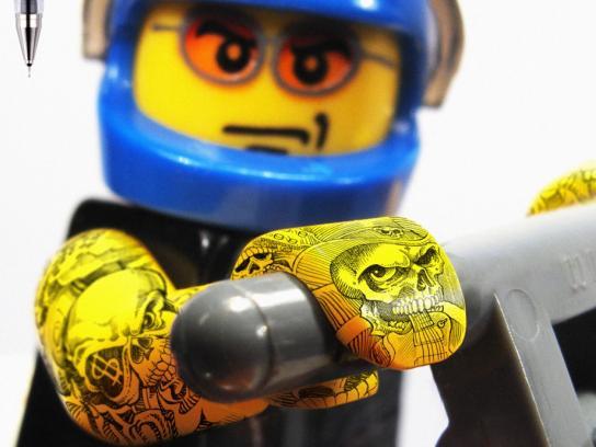 Pilot Print Ad -  Legoman tattoo, arms 3