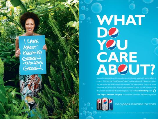 Pepsi Print Ad -  Refresh Project, What do you care about?
