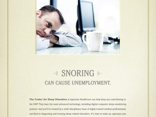 Agnesian Healthcare Center Print Ad -  Snoring