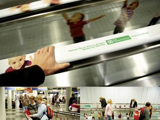SOS-Kinderdörfer Ambient Ad -  Interactive moving walkway