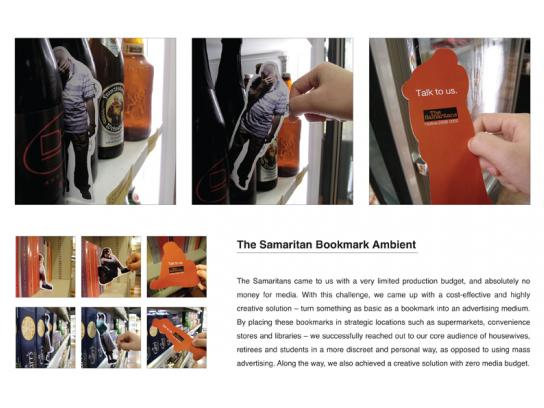 The Samaritans Ambient Ad -  Bookmarks