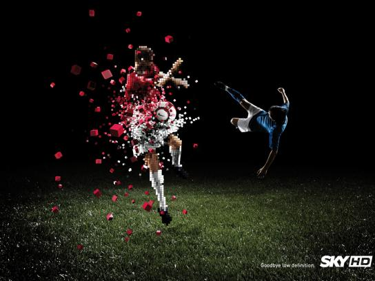 SKY Print Ad -  Pixel destruction, Kick