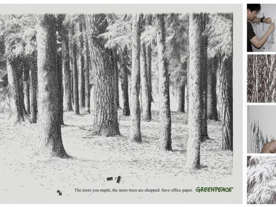 Greenpeace Ambient Ad -  Staple Trees