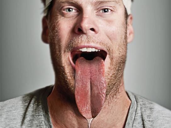 Sweating For Strays Print Ad -  Dog Tongue