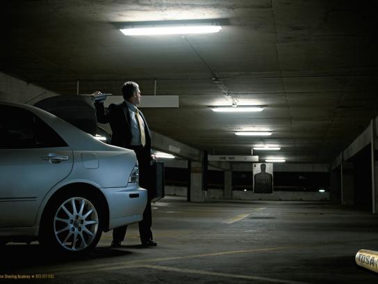 Texas Defensive Shooting Academy Print Ad -  Parking Garage
