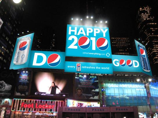 Pepsi Outdoor Ad -  Refresh Project, Happy 2010