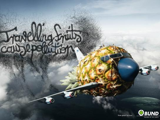 Friends of the Earth Print Ad -  Travelling Fruits, Pineapple