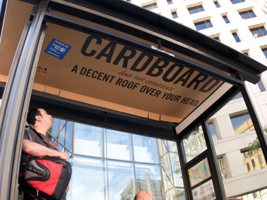 United Way Outdoor Ad -  Cardboard Roof