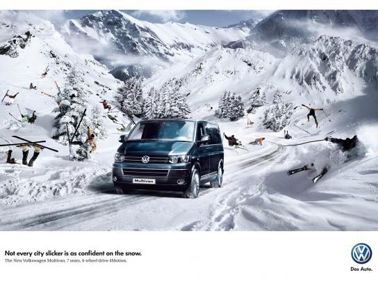 Volkswagen Print Ad -  Skiers