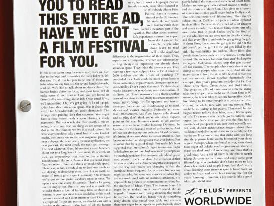 Canadian Film Centre Print Ad -  Worldwide Short Film Festival, Short Attention Span