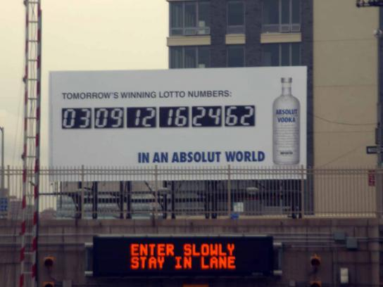 Absolut Outdoor Ad -  Lottery
