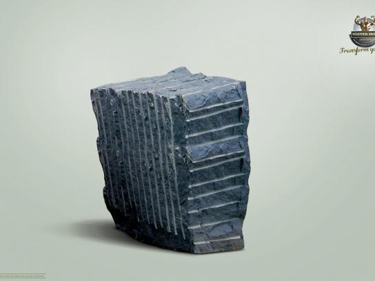 Mister Iron Print Ad -  Rock block