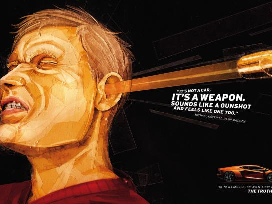Lamborghini Print Ad -  The truth hurts, Gunshot