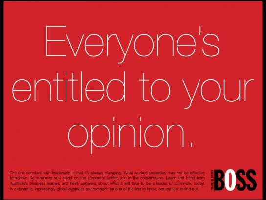 BOSS Financial Review Print Ad -  Your opinion