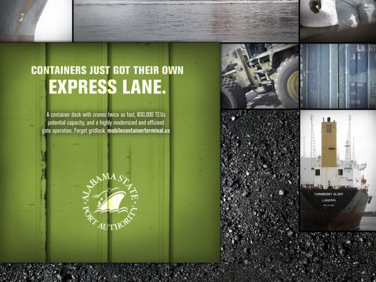 Alabama State Port Authority Print Ad -  Containers