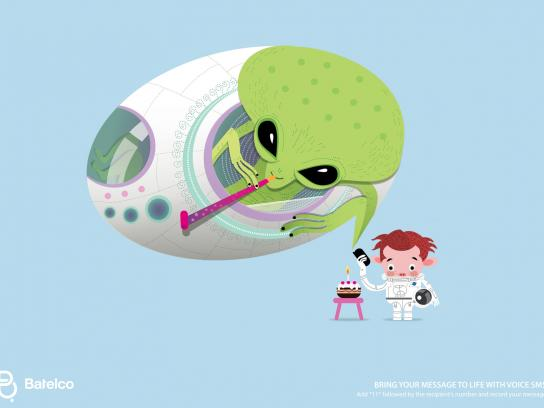 Batelco Print Ad -  Bubbles, Alien