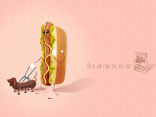 All Bran Print Ad -  Hot-dog