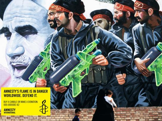Amnesty International Print Ad -  Amnesty's flame is in danger worldwide, Wall painting