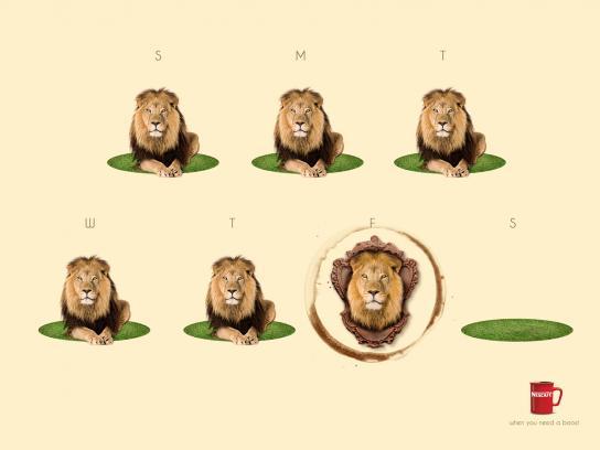 Nescafe Print Ad -  Dead lion
