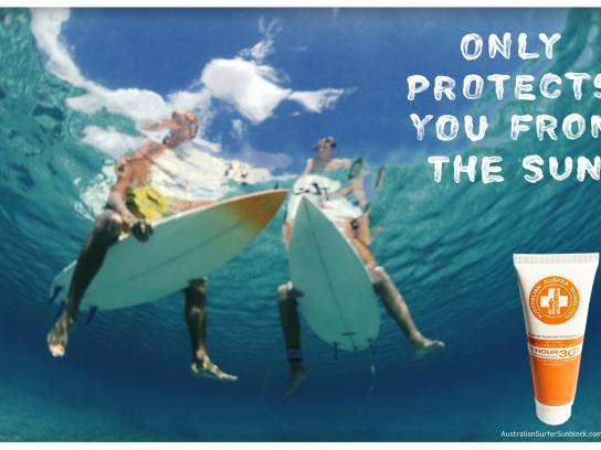 Australian Surfer Sunblock Print Ad -  Shark