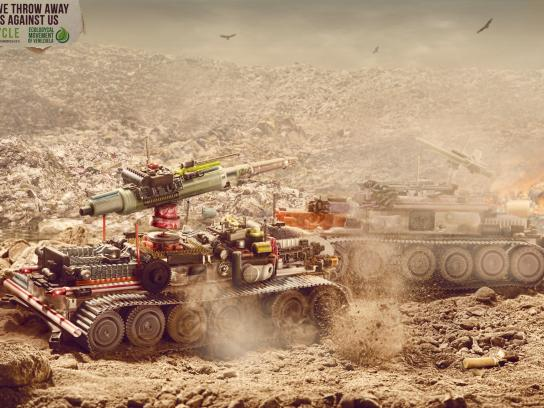 Ecological Movement of Venezuela Print Ad -  War on garbage, Tank