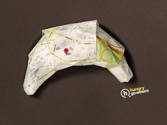 Hungry Go Where Print Ad -  Origami Croissant