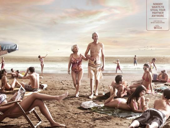 League against cancer Print Ad -  Beach