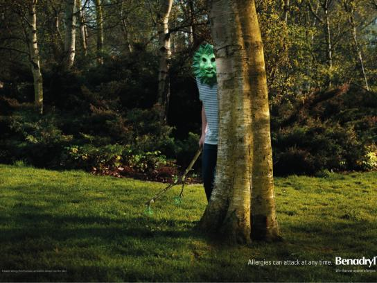 Benadryl Print Ad -  Masks, Green man